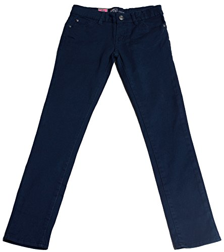 Hey Collection Big Girls Brushed Stretch Twill Skinny Jeans,7,Navy by Hey Collection