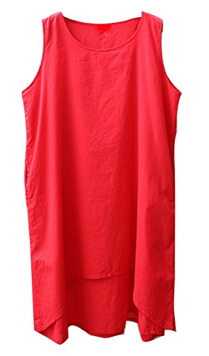 Soojun Casual Red Pockets Linen Sleeveless Cotton Dresses s Women With r61fA6