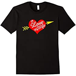 Men's Couples Valentines Day Shirt I Love My Wife Heart Arrow XL Black