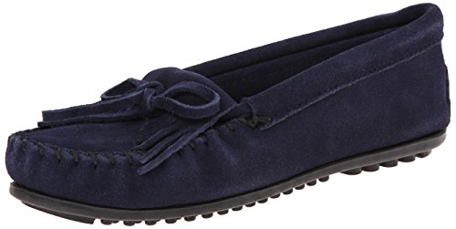 Minnetonka Shoes Womens Kilty Hardsole Moccasin 7.5 Navy (Navy Suede Moccasins)