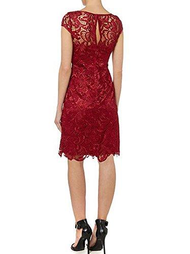 Rojo Fiesta Mujer Novia Oscuro De Noche Encaje Tapa Corto Vestido La Mangas OvSqx