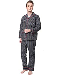 Godsen Men's Woven Pajamas Lounge Sets Sleepwear Long Sleeve