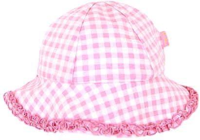 CHILDRENS KIDS GIRLS PINK AND WHITE GINGHAM FLOPPY SUMMER HAT