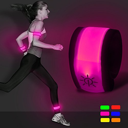 B.Seen LED Slap Armband - Light Up Night Safety Wrist Band Bracelets with Replace Batteries - Glow in the Dark for Running, Cycling, Biking, Walking by Bseen (Pink) for $<!--$7.99-->