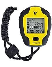 YNuo, cronometro con 500 Tracce e cronometro per Allenamento, Impermeabile, Colore Giallo, 84 x 66 x 21 mm