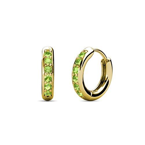TriJewels Petite Peridot Huggies Hoop Earrings 0.25 Carat tw in 14K Yellow Gold ()