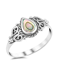 Teardrop Simulated Abalone Promise Ring New .925 Sterling Silver Heart Band Sizes 5-10