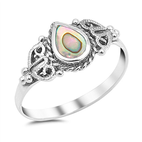 Teardrop Simulated Abalone Promise Ring New .925 Sterling Silver Heart Band Size 10