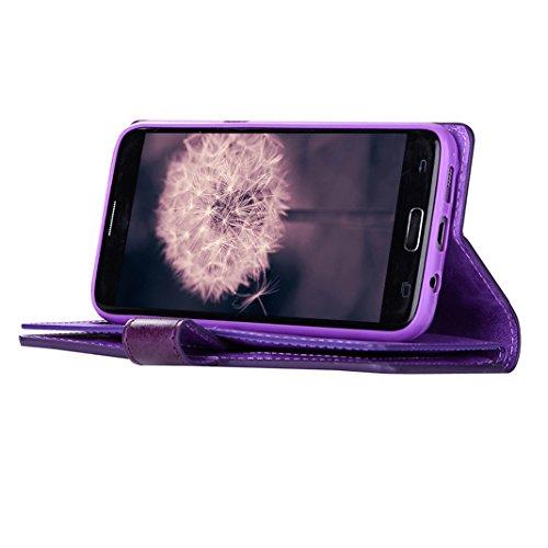 Funda Piel Samsung Galaxy S7 Carcasas, Cuero Carcasas Fundas Galaxy S7 Samsung Case Caso Rosa Schleife® S7 G930 Funda con Tapa Caja 9 Tarjetas Protectora Cover Ultra Slim Folio Libro Cartera Billetera Púrpura