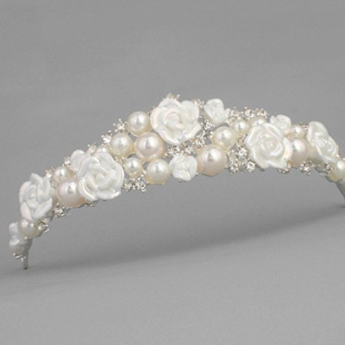 (Stunning Tiaras with Rhinestones/Pearls for Wedding/Sweet Sixteen/Flower Girl/Quinceanera/First Communion Crown Headdress-Various Designs (Pearl Tiara))
