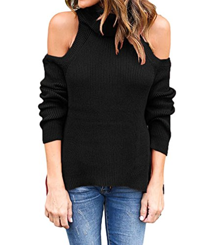 SUBWELL Women's Long Sleeve Cold Shoulder Ribbed Knit Stretch Pullover Sweater Tops