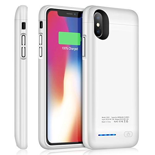 iPhone X Battery Case YISHDA Magnetic Slim 4000mAh Portable Charging Case for iPhone x / iPhone 10 (5.8 inch) Extended Rechargeable External Battery Charger case Backup Power Bank Juice Pack - White
