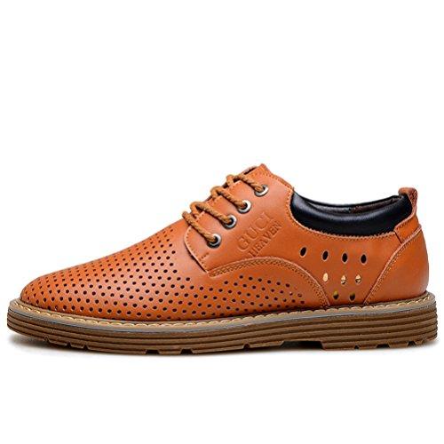 Guciheaven Zapato De Trabajo De Hombre Transpirable Caña De Caballo De Cuero Calado Derby Informal Amarillo