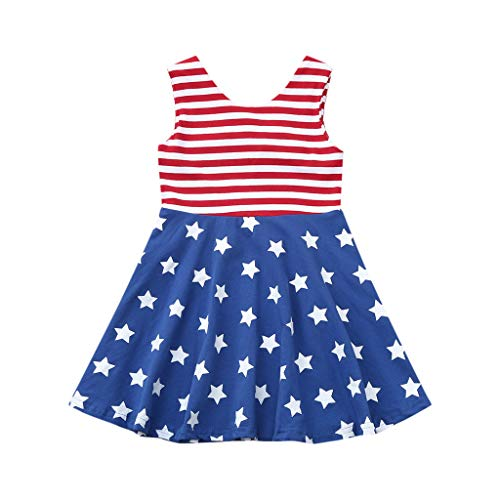 scamper Summer Toddler Baby Girls 4th of July Stars and Stripe Print Patriotic Dress Clothes for Holiday Red