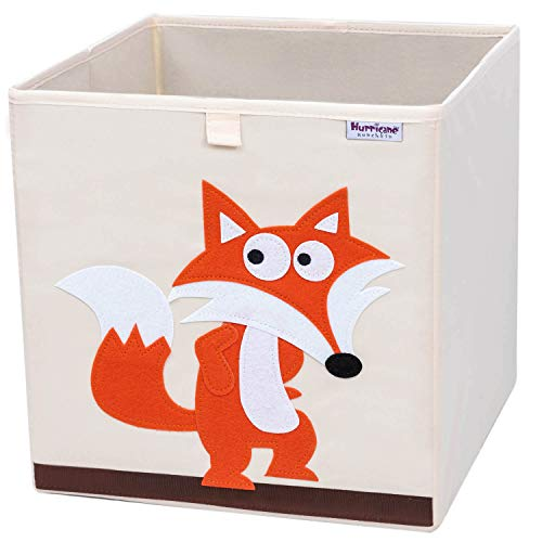 Hurricane Munchkin Collapsible Toy Storage Box | Cube Bin Organizer for Children Toys, Stuffed Animals, Books & Clothes (13 x 13 x 13) | Great for Nursery, Kids Bedroom & Playroom- Fox