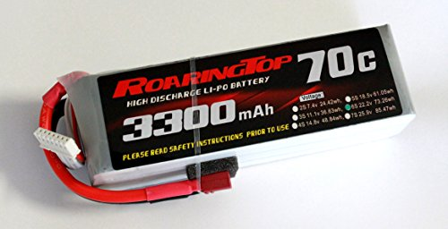 RoaringTop LiPo Battery Pack 70C 3300mAh 6S 22.2V with Deans Plug for RC Car Boat Truck Heli Airplane