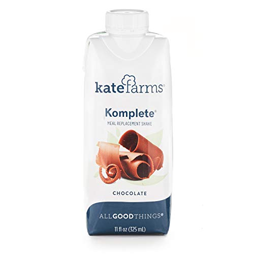 Kate Farms Komplete Chocolate Meal Replacement Shake, Gluten Free, Nut Free, Dairy Free, Organic Plant Protein Ready to Drink, Case of 12
