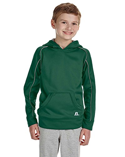 Russell Athletic Youth Tech Fleece Pullover Hood M DARK GREEN/STEEL