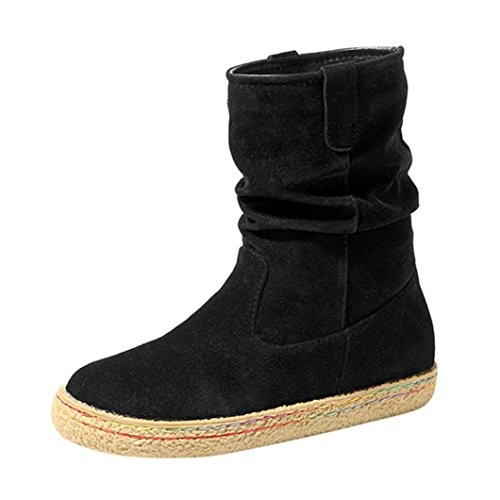Elevin(TM) 2018Women Winter Fashion Suede Leather Mid-Calf Combat Boots Soft Flat Ankle Martin Shoes Black FvEqDnHBjG
