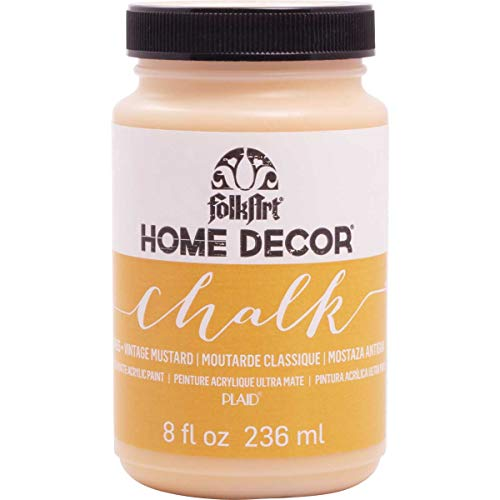 FolkArt 34155 Home Decor Chalk Furniture & Craft Paint in Assorted Colors, 8 Ounce, Vintage Mustard