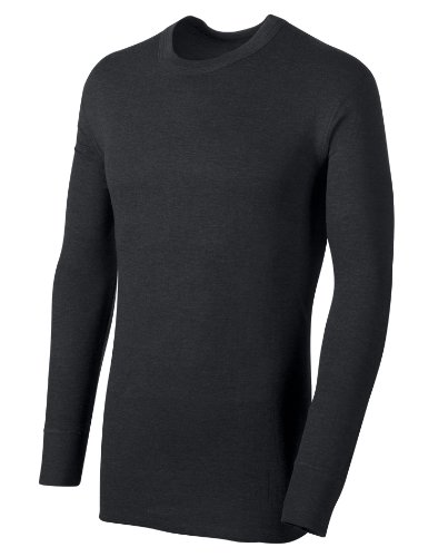Duofold Men's Mid Weight Wicking Thermal Shirt, Black, Medium