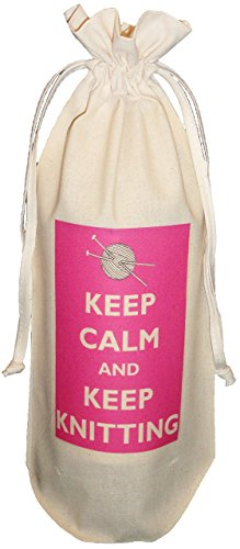 The Cotton Bag Store Ltd Keep Calm And Keep Knitting Natural Cotton Drawstring Wine Bottle Bag Cream