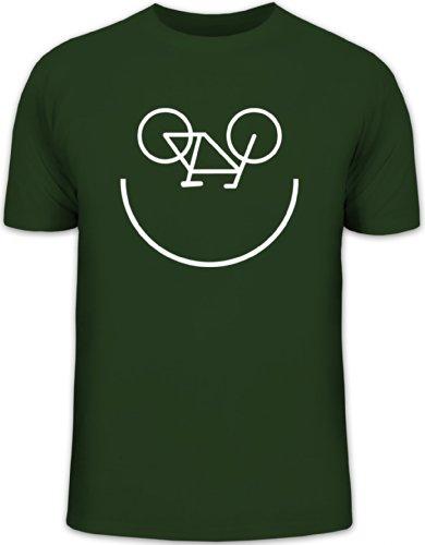 Shirtstreet24, Bike Smiley, Fahrrad Rennrad Herren T-Shirt Fun Shirt Funshirt, Größe: L,dunkelgrün