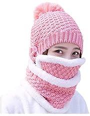 3-i-1 kvinnor stickad mössa cirkel halsduk mask kombo set vinter varm tjock mössa virkad pom pom hatt mössa öronlapp halsvärmare skalle keps för utomhus skidor snowboard cykel