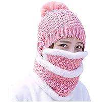 3-i-1 kvinnor stickad mössa cirkel halsduk mask kombo set vinter varm tjock mössa virkad pom pom hatt mössa öronlapp…