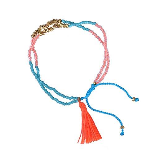 KELITCH Bohemia Red Tassels Friendship Bracelet Handmade Silver Crystal Beaded New Jewelry (Orange)