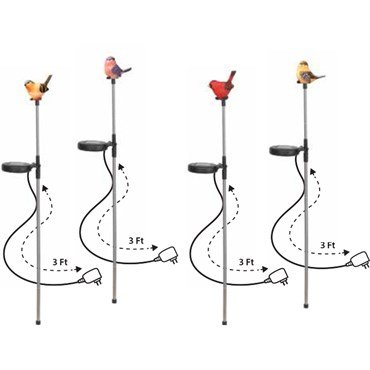Alpine SLC294ABB-DSP Bird LED Light Garden Stake with Wall Plug - Set of 4 by Alpine