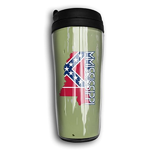 Mississippi Flag Map Tumbler With Travel Lid Vacuum Cup,12oz