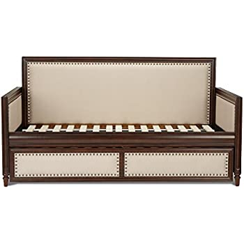 grandover wood daybed with cream upholstered panels and roll out trundle drawer espresso finish twin