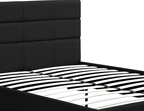 Amazon com  DHP Modena Faux Leather  Black Upholstered Bed with Wooden  Slats Included  Queen  Kitchen   Dining. Amazon com  DHP Modena Faux Leather  Black Upholstered Bed with