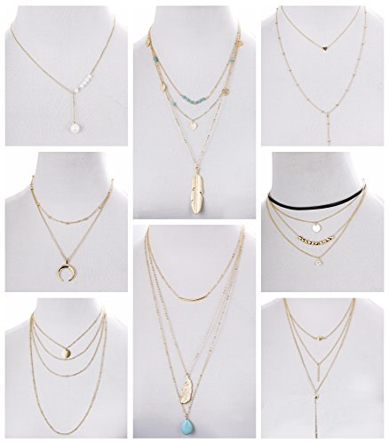 Layer Necklace Set - FIBO STEEL 3-8Pcs Layered Y Necklace for Women Girls Long Gothic Sexy Pendant Necklace Set Gold-tone (Style B)