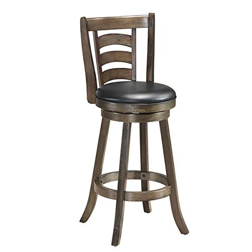 COSTWAY Vintage Bar Stools, Accent Rubber Wooden Swivel Bar Backed Dining Chair, Fabric Upholstered 360 Degree Swivel,Cushioned Seat, Perfect for Dining and Living Room Height 29