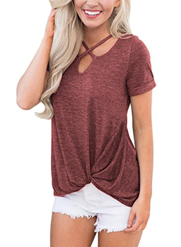Dokotoo Womens Ladies Fashion Summer Short Sleeve V Neck Criss Cross Classic Basic Solid Casual Knot Blouses and Tops Tee Shirts Wine Large