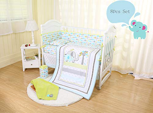 (Spring Baby Elephant Crib Bedding Set 8-Piece for Baby Boys and Girls,Blue/Green/Grey, Including Bumper Pads)