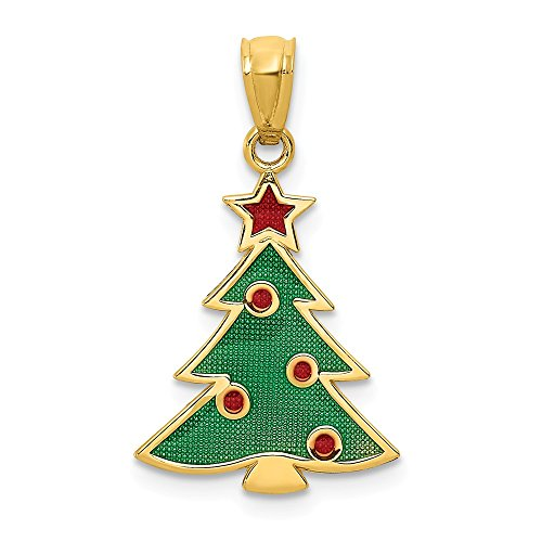 14k Yellow Gold Enameled Christmas Tree Pendant Charm Necklace Holiday Fine Jewelry Gifts For Women For Her