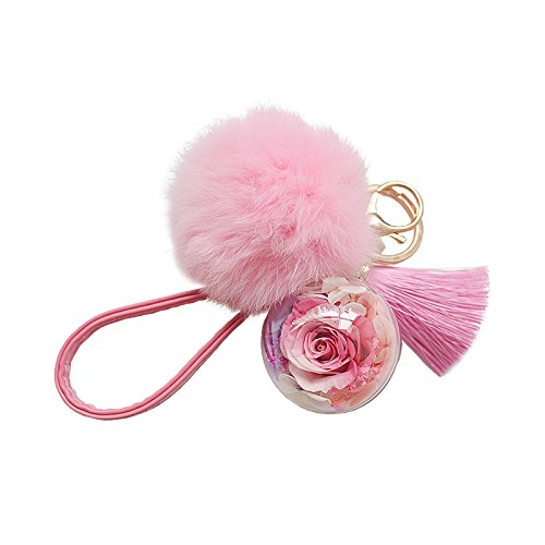URTop Cute Ball Eternal Flower Puff Ball Tassels KeyChains Girls Pom Pom KeyChain Bunny Key Chains Car Bag Charm Key Chain