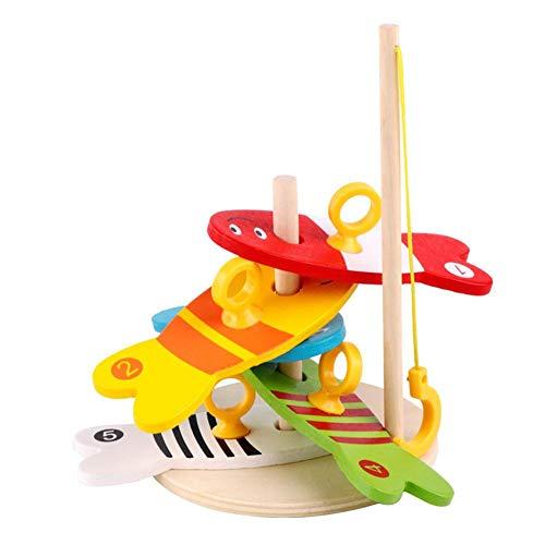 (Anysell88 Colorful Wooden Fishing Digital Game Baby Kids Column Blocks Cartoon Toys)