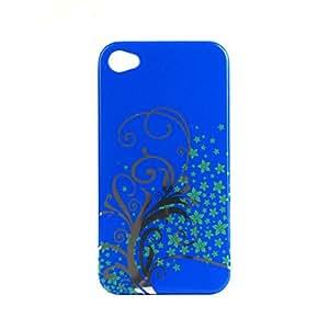 Extreme´s conseguir Patrón de flores esmalte funda protectora para el iPhone 4 (azul)