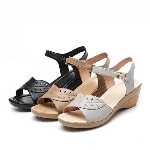 QL@YC Damen Sandalen Sommer Slope Mit Großer Yards Von Nicht Slip Leder Weiche Unterwäsche In Der Damenschuhe , black , 36