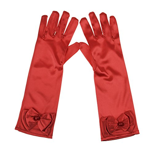Pretty Woman Red Opera Dress Costume (Flower Girls Stretchy Satin Full-fingered Bowknot Prom Wedding Party Formal Dress Gloves (Red L))