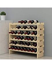 sogesfurniture 6 Tier Wijnrek 48 Flessenrek Wijnhouder, Natuurlijke Massief Houten Wijnfles Organizer voor Thuis Keuken Bar, BHEU-BY-WS6848M