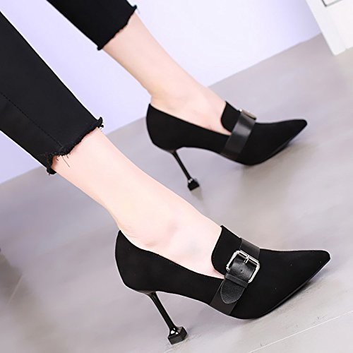 Color Black KHSKX Version Match Heeled Matching Thin With With Korean Spring Belt Sexy All Shoes Shoes The A Buckle New High Cat 9Cm Pointed The Of Shoes pqp1wrF
