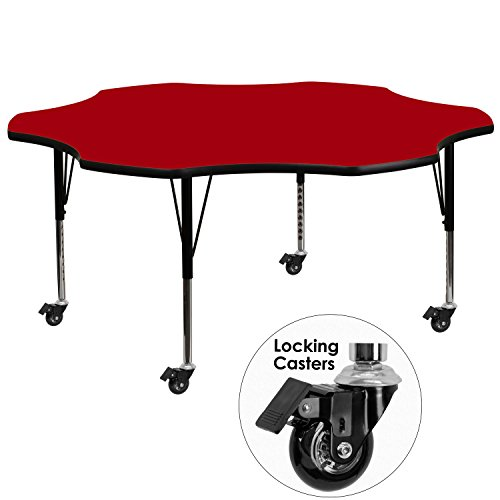Flash Furniture Mobile 60'' Flower Red Thermal Laminate Activity Table - Height Adjustable Short Legs (Dropship Flowers)