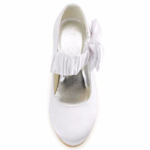 Minitoo Ladies Ruched Ankle Strap With Knot Satin Lovely Wedding Party Shoes White-6.5cm Heel 9U3zFhq