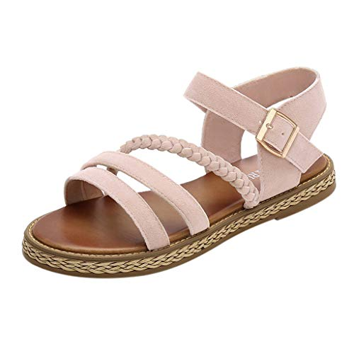 Women Flat Sandals Summer,SIN+MON Women's Simple Non-Slip Sandals Wild Casual Buckle Strap Solid Color Sandals for Women Beige