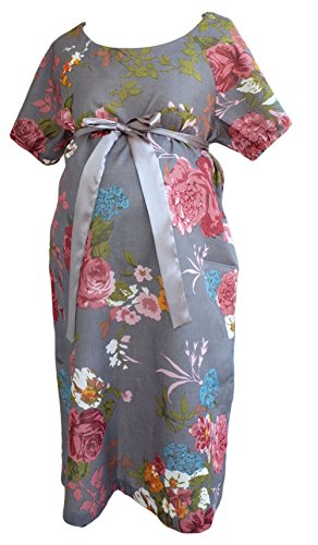 Maternity Gown for Hospital Labor Delivery Breastfeeding Skin to Skin S/M , LightGrey
